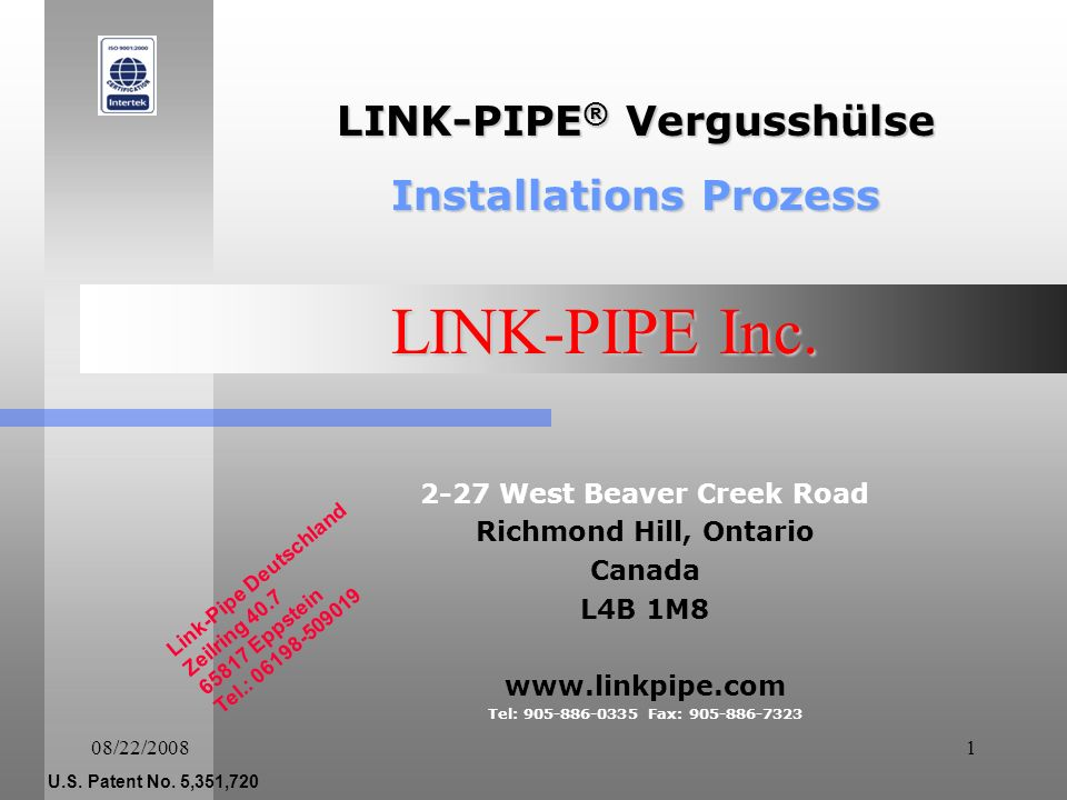 08/22/200811 LINK-PIPE INC.