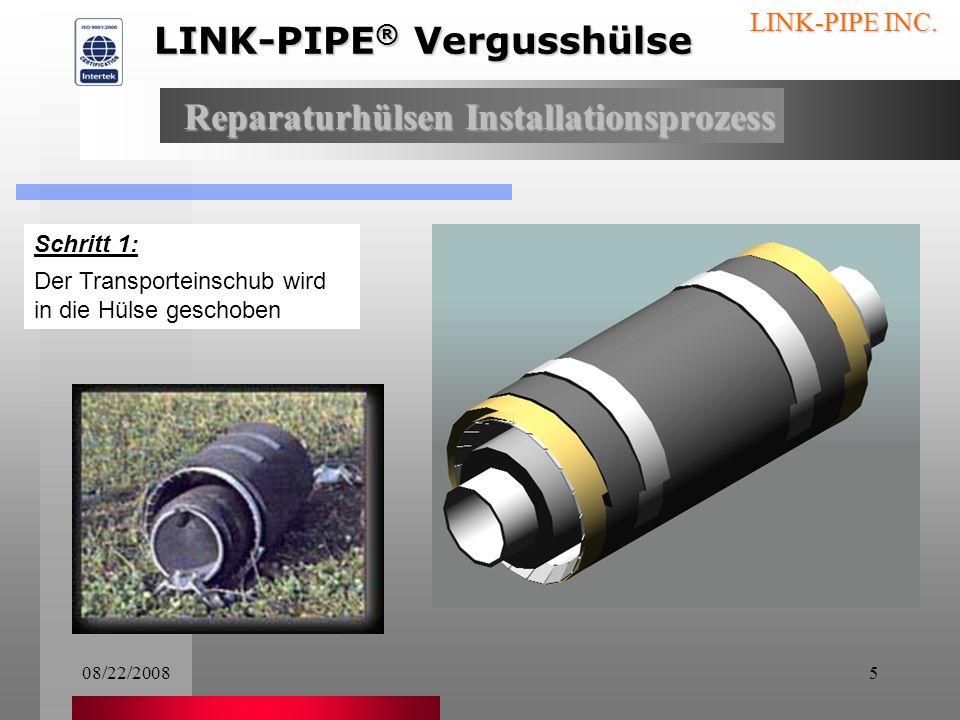 08/22/20084 LINK-PIPE INC. Eine Reparaturhülse wird in einem Paket geliefert, das alle, für die Reparatur notwendige Teile, enthält, inklusive der ric