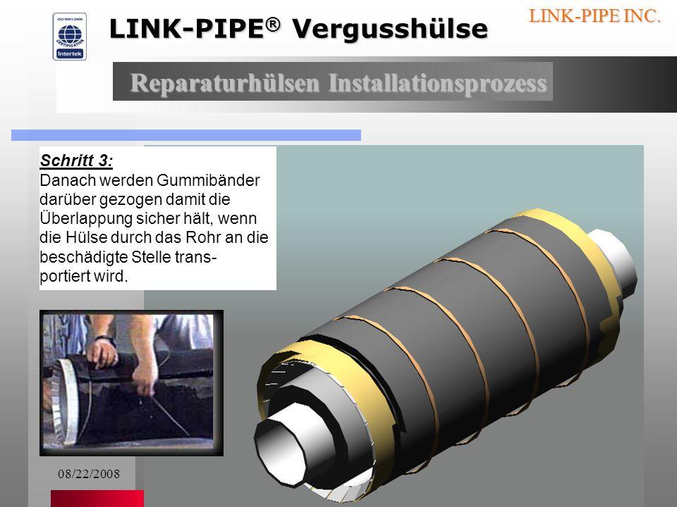 08/22/20086 LINK-PIPE INC. Schritt 2: Als erstes wird die Verguss- masse unter die Überlap- pung der die Hülse umge- bende Dichtung eingearbeitet. Rep