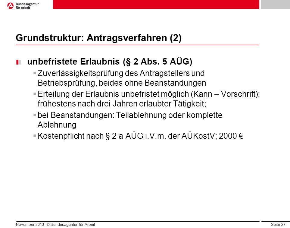 Seite 27 November 2013 © Bundesagentur für Arbeit Grundstruktur: Antragsverfahren (2) unbefristete Erlaubnis (§ 2 Abs. 5 AÜG) Zuverlässigkeitsprüfung