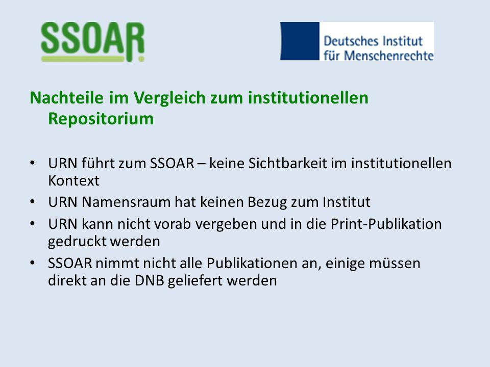 Nachteile im Vergleich zum institutionellen Repositorium URN führt zum SSOAR – keine Sichtbarkeit im institutionellen Kontext URN Namensraum hat keine
