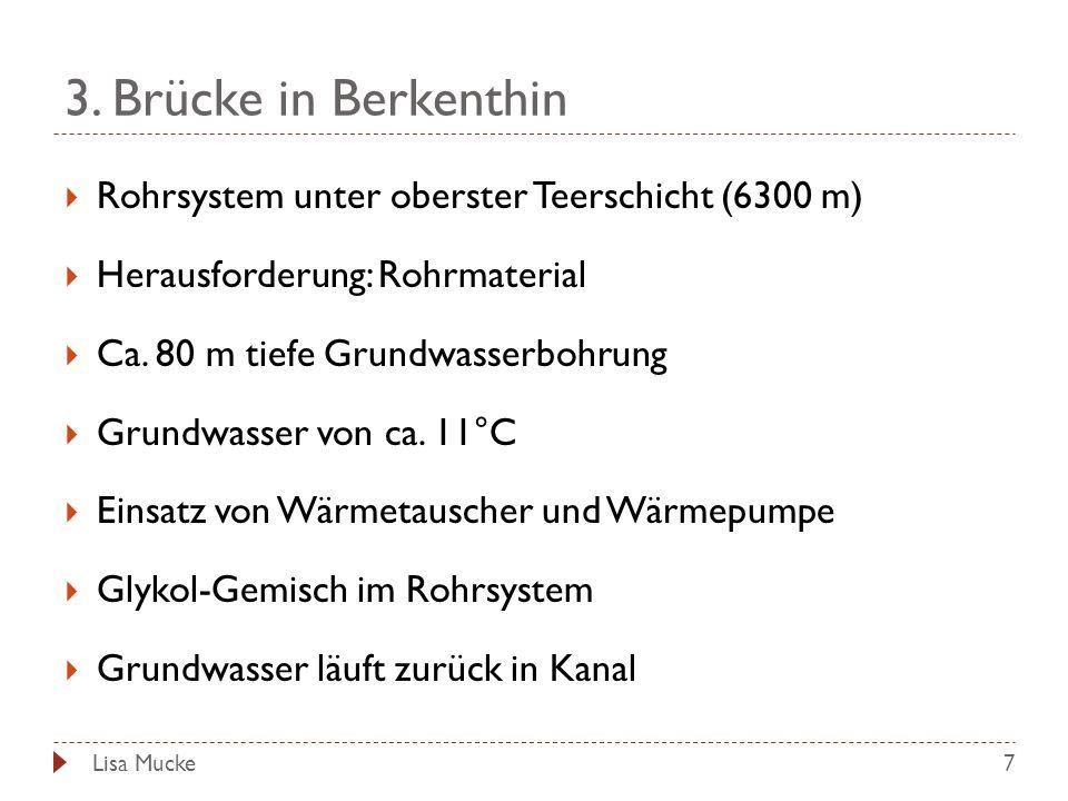 3. Brücke in Berkenthin 7 Rohrsystem unter oberster Teerschicht (6300 m) Herausforderung: Rohrmaterial Ca. 80 m tiefe Grundwasserbohrung Grundwasser v