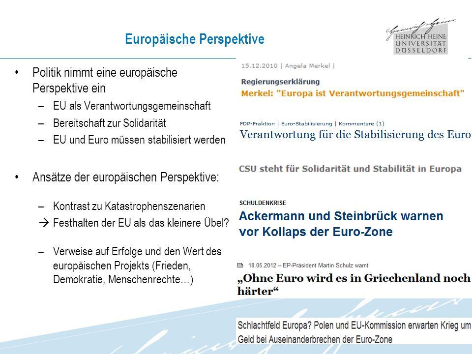 Europäische Perspektive Politik nimmt eine europäische Perspektive ein –EU als Verantwortungsgemeinschaft –Bereitschaft zur Solidarität –EU und Euro müssen stabilisiert werden Ansätze der europäischen Perspektive: –Kontrast zu Katastrophenszenarien Festhalten der EU als das kleinere Übel.