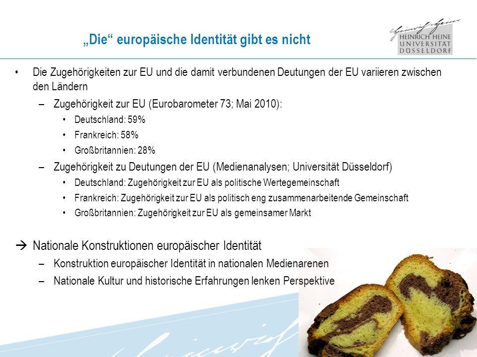Die europäische Identität gibt es nicht Die Zugehörigkeiten zur EU und die damit verbundenen Deutungen der EU variieren zwischen den Ländern –Zugehörigkeit zur EU (Eurobarometer 73; Mai 2010): Deutschland: 59% Frankreich: 58% Großbritannien: 28% –Zugehörigkeit zu Deutungen der EU (Medienanalysen; Universität Düsseldorf) Deutschland: Zugehörigkeit zur EU als politische Wertegemeinschaft Frankreich: Zugehörigkeit zur EU als politisch eng zusammenarbeitende Gemeinschaft Großbritannien: Zugehörigkeit zur EU als gemeinsamer Markt Nationale Konstruktionen europäischer Identität –Konstruktion europäischer Identität in nationalen Medienarenen –Nationale Kultur und historische Erfahrungen lenken Perspektive