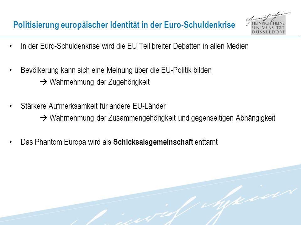 Politisierung europäischer Identität in der Euro-Schuldenkrise In der Euro-Schuldenkrise wird die EU Teil breiter Debatten in allen Medien Bevölkerung kann sich eine Meinung über die EU-Politik bilden Wahrnehmung der Zugehörigkeit Stärkere Aufmerksamkeit für andere EU-Länder Wahrnehmung der Zusammengehörigkeit und gegenseitigen Abhängigkeit Das Phantom Europa wird als Schicksalsgemeinschaft enttarnt
