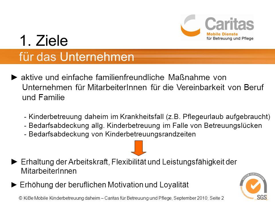 © KiBe Mobile Kinderbetreuung daheim – Caritas für Betreuung und Pflege, September 2010; Seite 2 1.