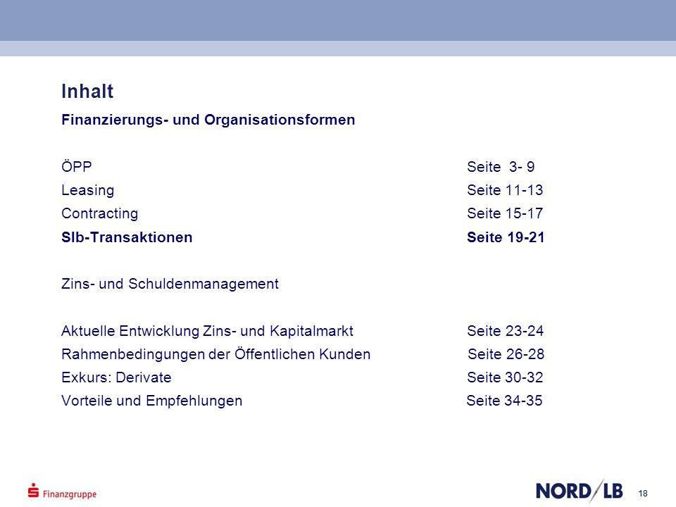 18 Inhalt Finanzierungs- und Organisationsformen ÖPP Seite 3- 9 Leasing Seite 11-13 Contracting Seite 15-17 Slb-Transaktionen Seite 19-21 Zins- und Sc