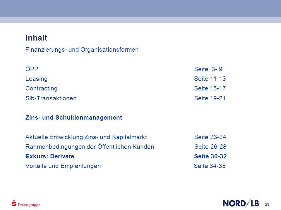 29 Inhalt Finanzierungs- und Organisationsformen ÖPP Seite 3- 9 Leasing Seite 11-13 Contracting Seite 15-17 Slb-Transaktionen Seite 19-21 Zins- und Sc