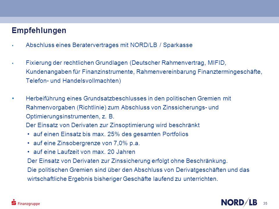 35 Empfehlungen Abschluss eines Beratervertrages mit NORD/LB / Sparkasse Fixierung der rechtlichen Grundlagen (Deutscher Rahmenvertrag, MIFID, Kundena