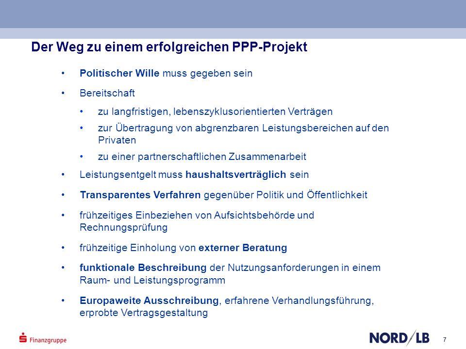 77 Der Weg zu einem erfolgreichen PPP-Projekt Politischer Wille muss gegeben sein Bereitschaft zu langfristigen, lebenszyklusorientierten Verträgen zu