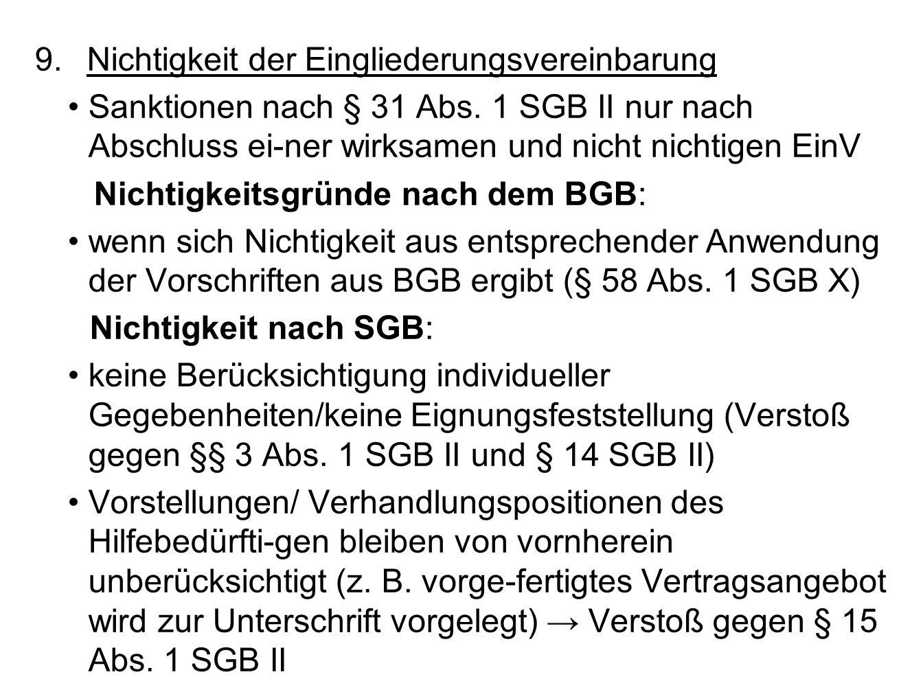 9.Nichtigkeit der Eingliederungsvereinbarung Sanktionen nach § 31 Abs.
