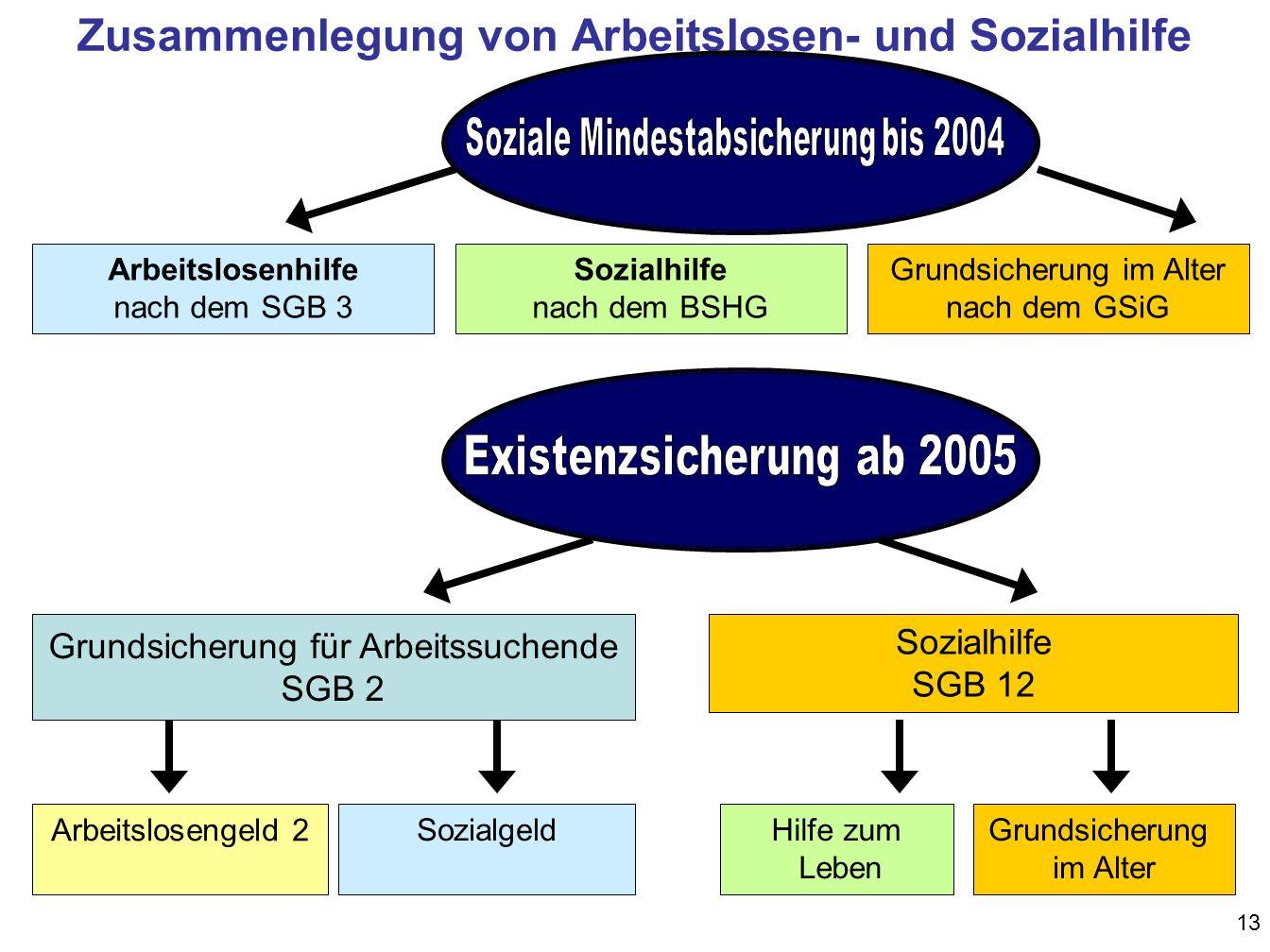 13 Zusammenlegung von Arbeitslosen- und Sozialhilfe Grundsicherung für Arbeitssuchende SGB 2 Sozialhilfe SGB 12 Arbeitslosengeld 2 SozialgeldHilfe zum Leben Grundsicherung im Alter Arbeitslosenhilfe nach dem SGB 3 Sozialhilfe nach dem BSHG Grundsicherung im Alter nach dem GSiG