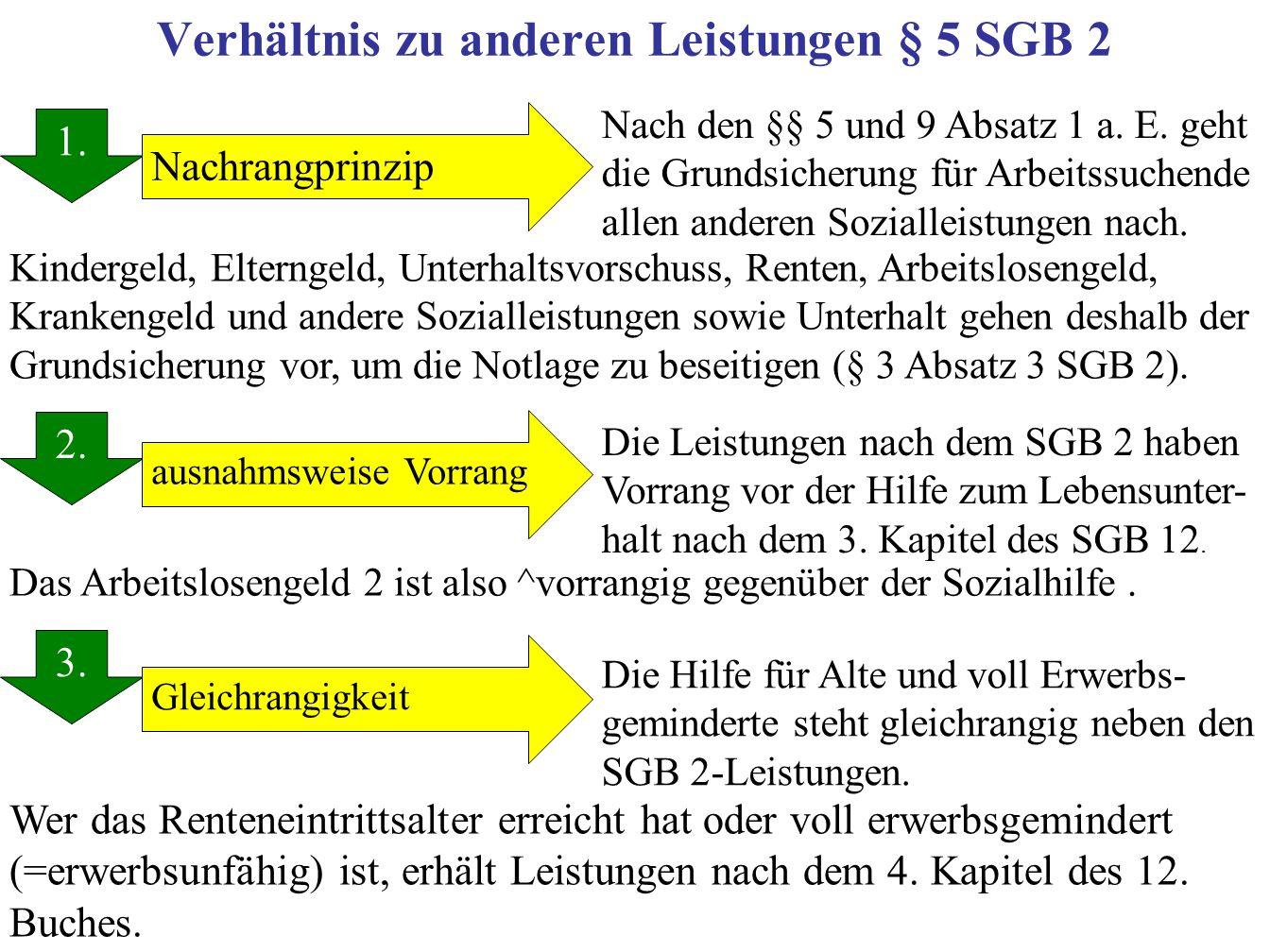Verhältnis zu anderen Leistungen § 5 SGB 2 1.2. 3.