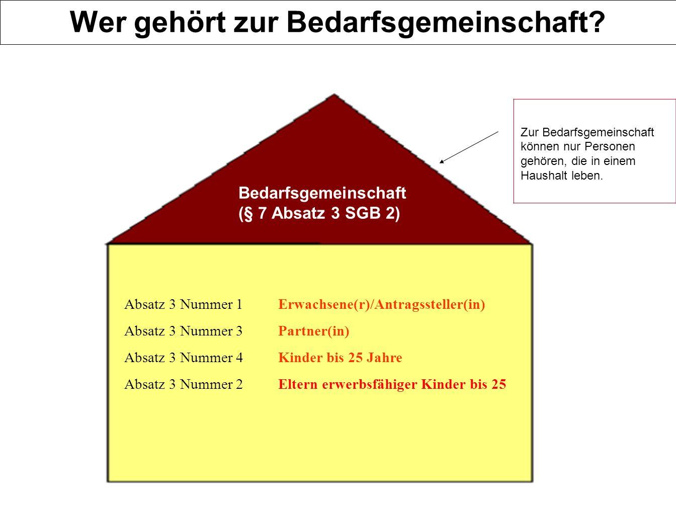 24 Absatz 3 Nummer 1 Erwachsene(r)/Antragssteller(in) Absatz 3 Nummer 3 Partner(in) Absatz 3 Nummer 4 Kinder bis 25 Jahre Absatz 3 Nummer 2 Eltern erwerbsfähiger Kinder bis 25 Bedarfsgemeinschaft (§ 7 Absatz 3 SGB 2) Zur Bedarfsgemeinschaft können nur Personen gehören, die in einem Haushalt leben.