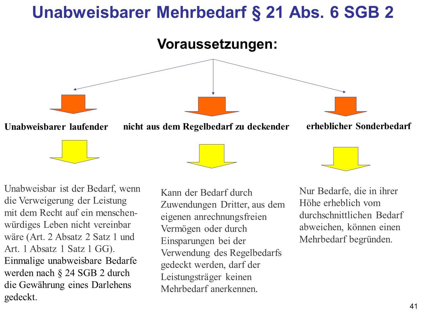 41 Unabweisbarer Mehrbedarf § 21 Abs.