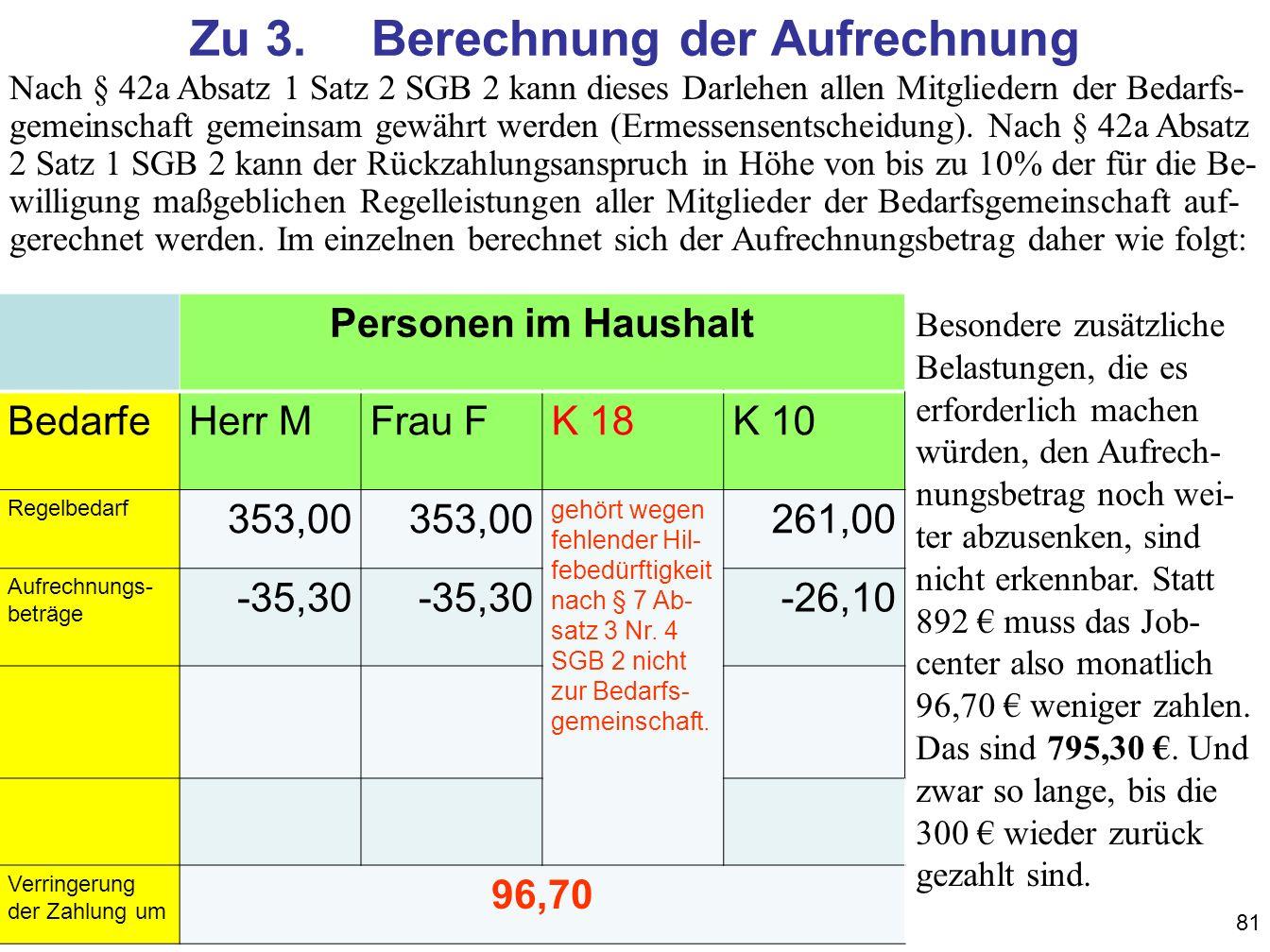 81 Zu 3.Berechnung der Aufrechnung Personen im Haushalt BedarfeHerr MFrau FK 18K 10 Regelbedarf 353,00 gehört wegen fehlender Hil- febedürftigkeit nach § 7 Ab- satz 3 Nr.