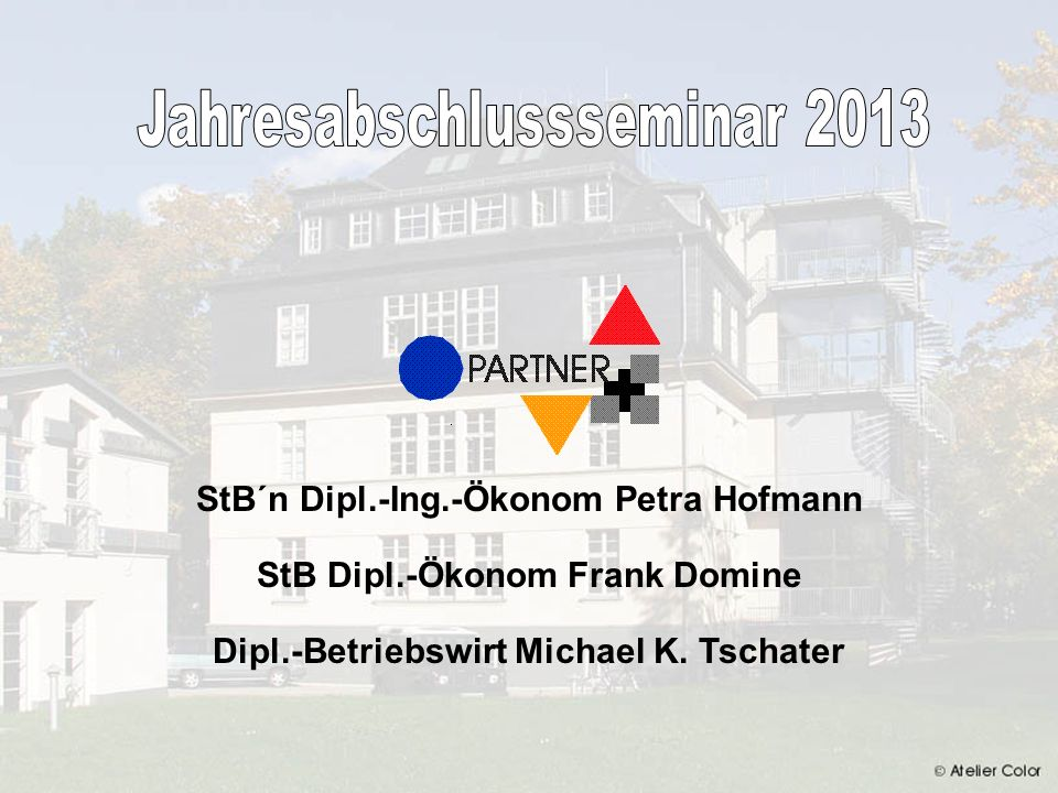 Hofmann Domine & Tschater JAHRESABSCHLUSSSEMINAR 2013 12 Anrechnung von steuerfreien Sachbezügen Auf die Entfernungspauschale sind auch steuerfreie Sachbezüge bis 44 pro Monat anzurechnen.