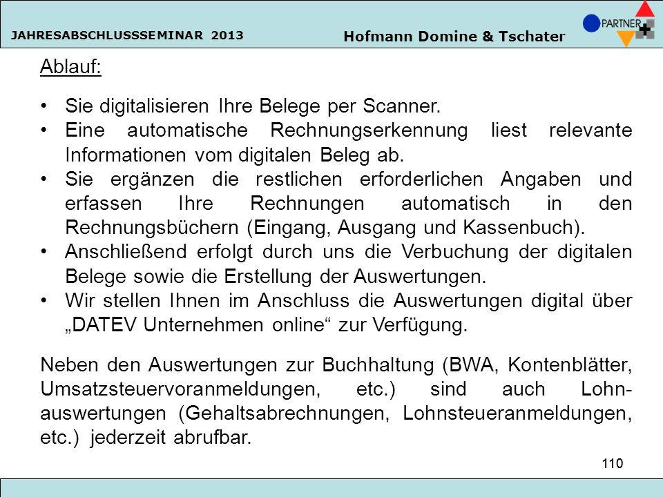 Hofmann Domine & Tschater JAHRESABSCHLUSSSEMINAR 2013 110 Ablauf: Sie digitalisieren Ihre Belege per Scanner. Eine automatische Rechnungserkennung lie