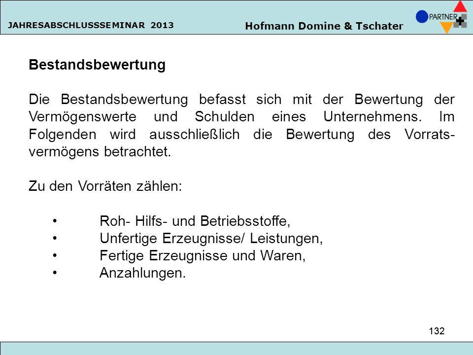 Hofmann Domine & Tschater JAHRESABSCHLUSSSEMINAR 2013 132 Bestandsbewertung Die Bestandsbewertung befasst sich mit der Bewertung der Vermögenswerte un