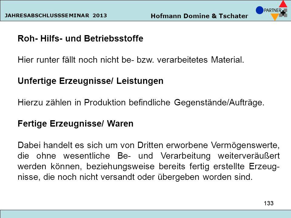 Hofmann Domine & Tschater JAHRESABSCHLUSSSEMINAR 2013 133 Roh- Hilfs- und Betriebsstoffe Hier runter fällt noch nicht be- bzw. verarbeitetes Material.