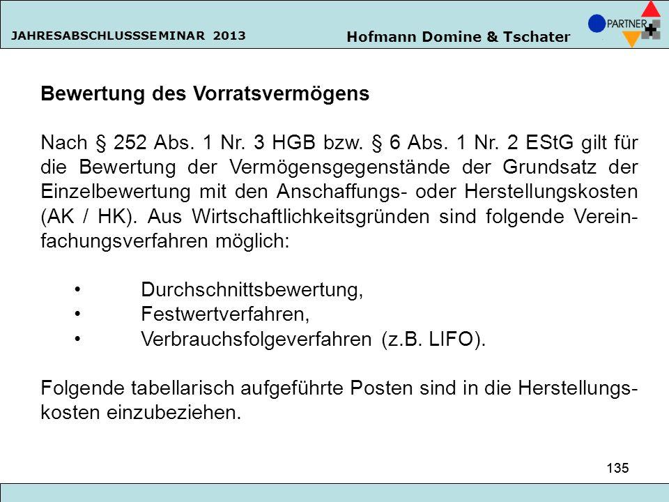 Hofmann Domine & Tschater JAHRESABSCHLUSSSEMINAR 2013 135 Bewertung des Vorratsvermögens Nach § 252 Abs. 1 Nr. 3 HGB bzw. § 6 Abs. 1 Nr. 2 EStG gilt f