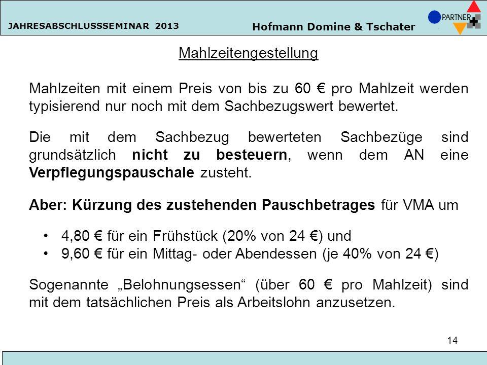 Hofmann Domine & Tschater JAHRESABSCHLUSSSEMINAR 2013 14 Mahlzeitengestellung Mahlzeiten mit einem Preis von bis zu 60 pro Mahlzeit werden typisierend