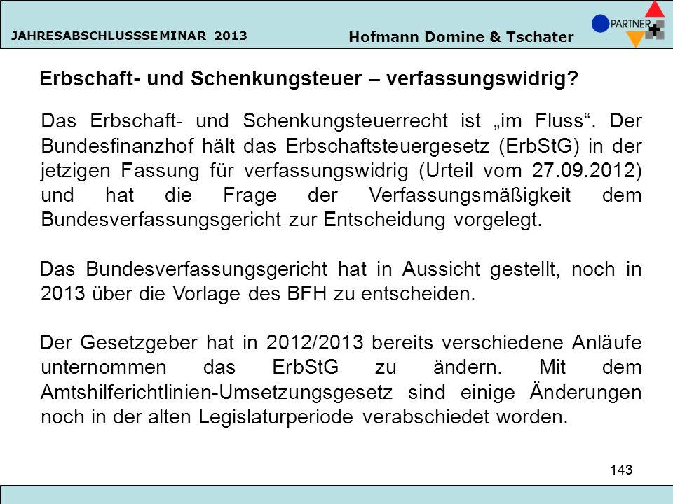 Hofmann Domine & Tschater JAHRESABSCHLUSSSEMINAR 2013 143 Erbschaft- und Schenkungsteuer – verfassungswidrig? Das Erbschaft- und Schenkungsteuerrecht