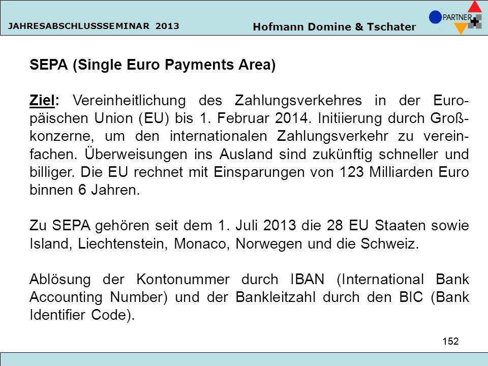 Hofmann Domine & Tschater JAHRESABSCHLUSSSEMINAR 2013 152 SEPA (Single Euro Payments Area) Ziel: Vereinheitlichung des Zahlungsverkehres in der Euro-