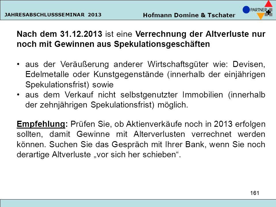 Hofmann Domine & Tschater JAHRESABSCHLUSSSEMINAR 2013 161 Nach dem 31.12.2013 ist eine Verrechnung der Altverluste nur noch mit Gewinnen aus Spekulati