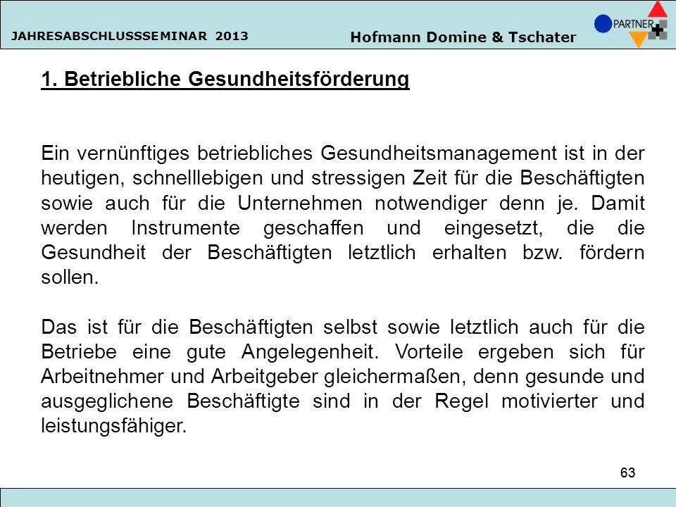 Hofmann Domine & Tschater JAHRESABSCHLUSSSEMINAR 2013 63 1. Betriebliche Gesundheitsförderung Ein vernünftiges betriebliches Gesundheitsmanagement ist