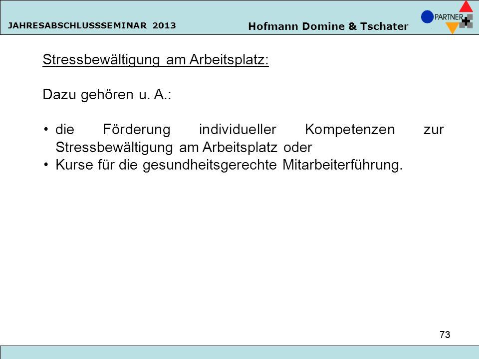 Hofmann Domine & Tschater JAHRESABSCHLUSSSEMINAR 2013 73 Stressbewältigung am Arbeitsplatz: Dazu gehören u. A.: die Förderung individueller Kompetenze