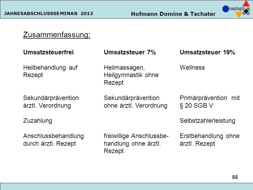 Hofmann Domine & Tschater JAHRESABSCHLUSSSEMINAR 2013 88 Zusammenfassung: Umsatzsteuerfrei Umsatzsteuer 7% Umsatzsteuer 19% Heilbehandlung aufHeilmass