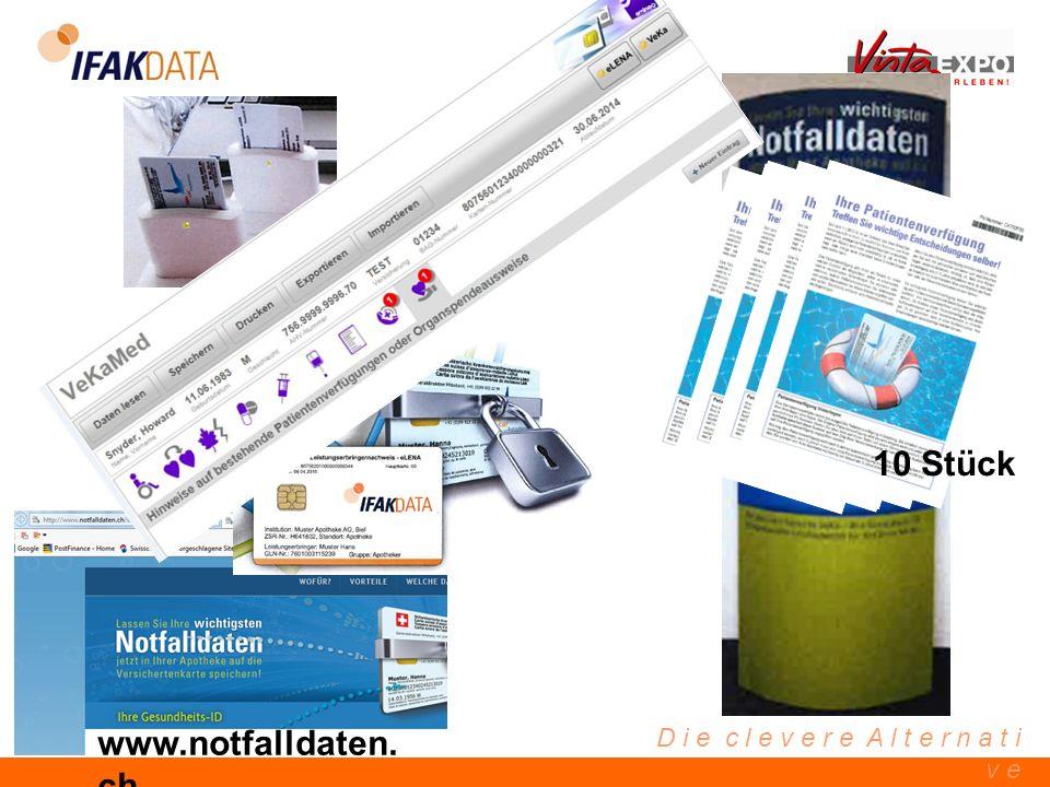 D i e c l e v e r e A l t e r n a t i v e 10 Stück www.notfalldaten. ch