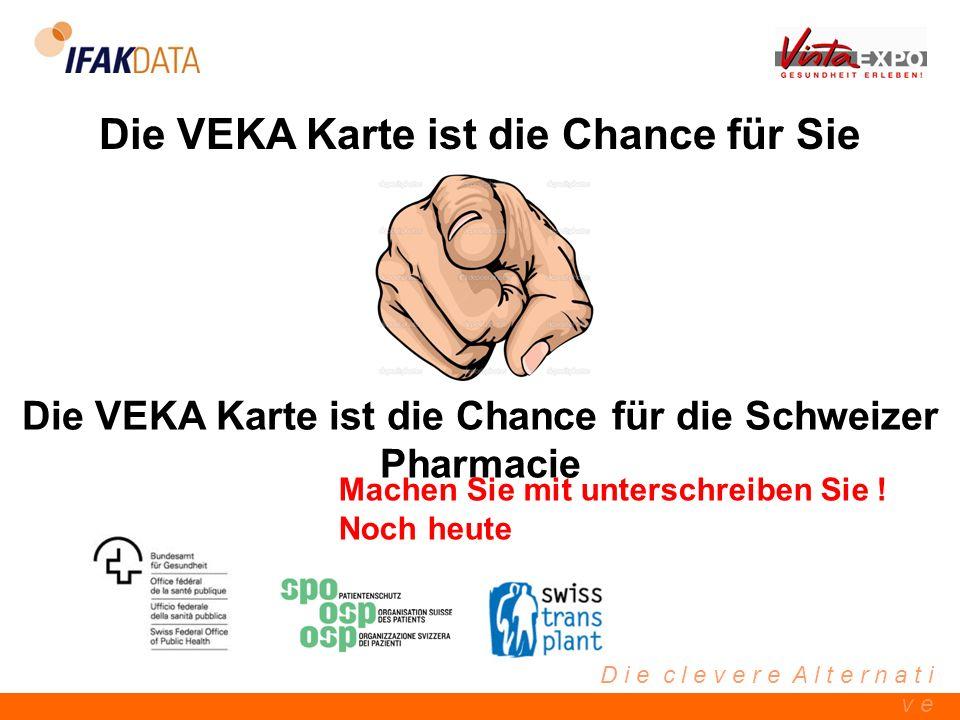 D i e c l e v e r e A l t e r n a t i v e Die VEKA Karte ist die Chance für Sie Die VEKA Karte ist die Chance für die Schweizer Pharmacie Machen Sie m