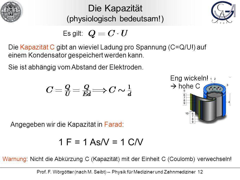 Prof. F. Wörgötter (nach M. Seibt) -- Physik für Mediziner und Zahnmediziner 12 Die Kapazität (physiologisch bedeutsam!) Es gilt: Die Kapazität C gibt