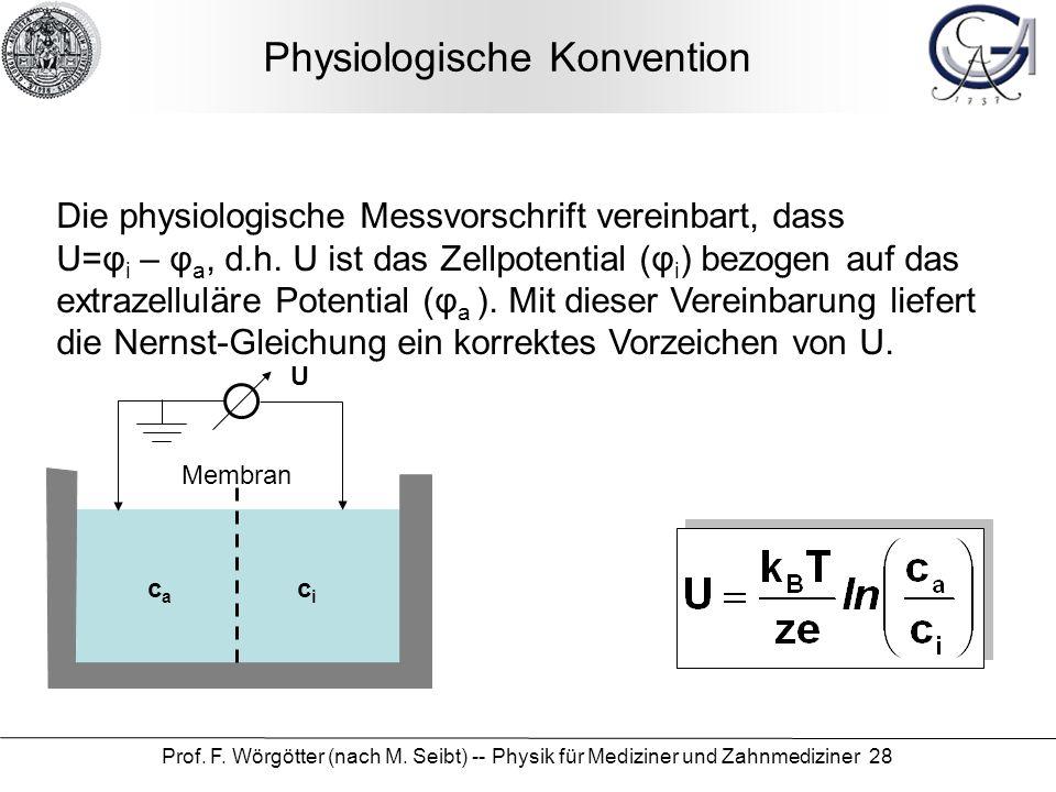 Prof. F. Wörgötter (nach M. Seibt) -- Physik für Mediziner und Zahnmediziner 28 Physiologische Konvention Die physiologische Messvorschrift vereinbart