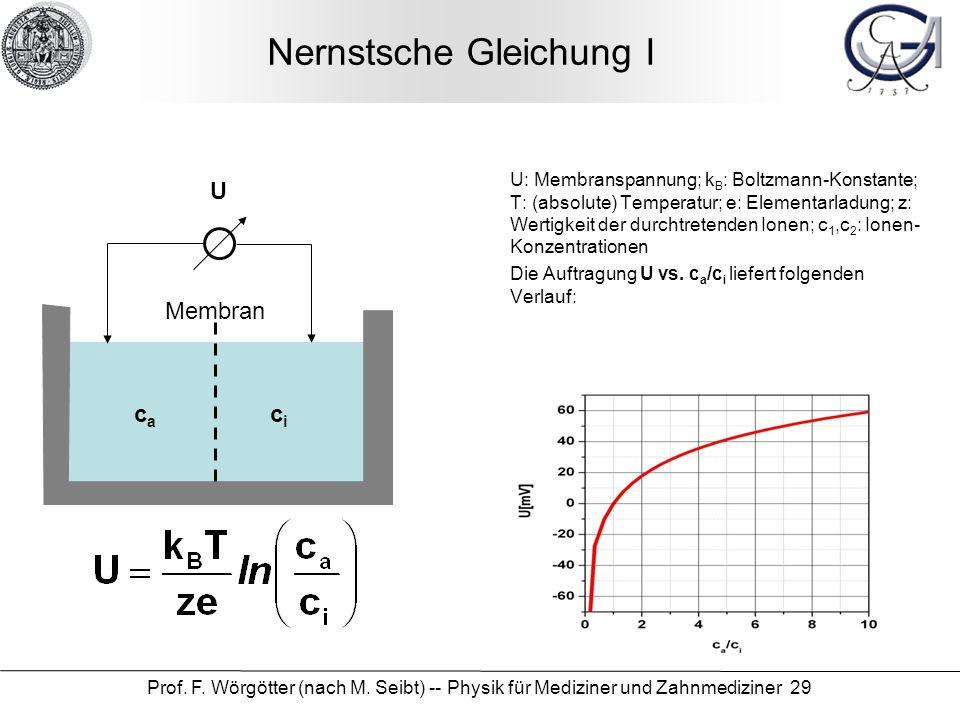 Prof. F. Wörgötter (nach M. Seibt) -- Physik für Mediziner und Zahnmediziner 29 Nernstsche Gleichung I U: Membranspannung; k B : Boltzmann-Konstante;