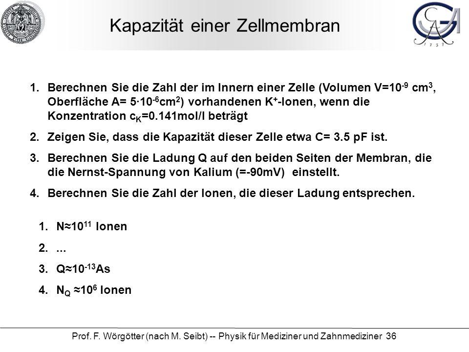 Prof. F. Wörgötter (nach M. Seibt) -- Physik für Mediziner und Zahnmediziner 36 Kapazität einer Zellmembran 1.Berechnen Sie die Zahl der im Innern ein