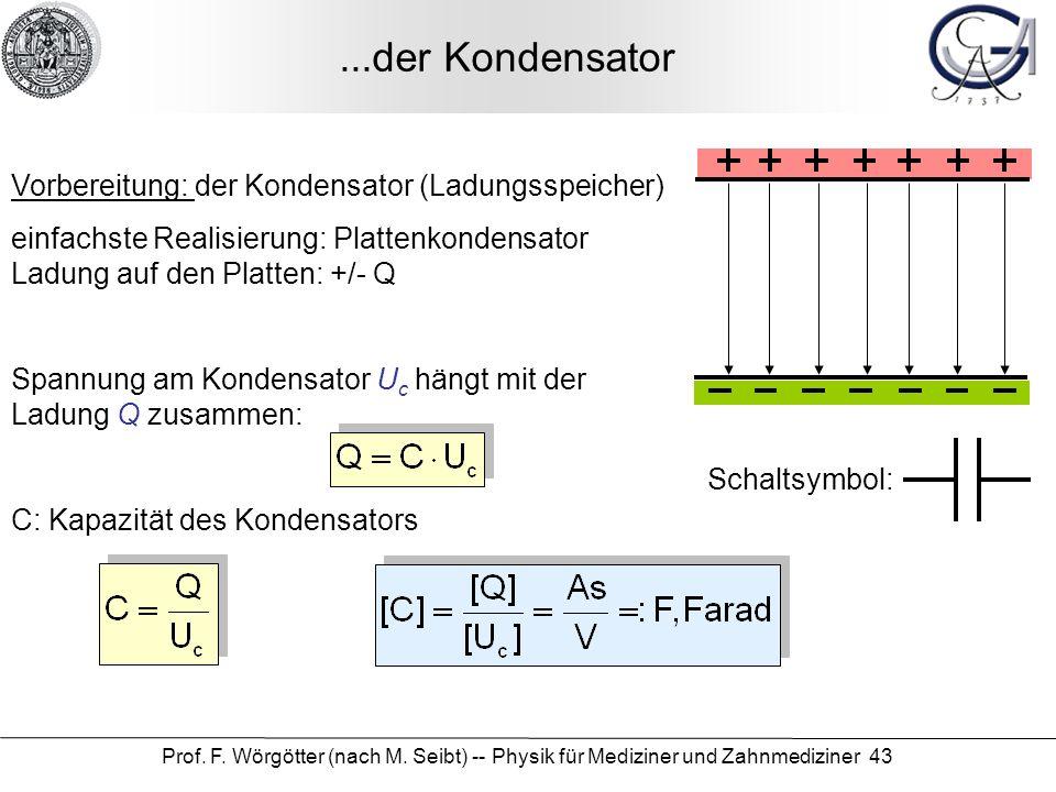 Prof. F. Wörgötter (nach M. Seibt) -- Physik für Mediziner und Zahnmediziner 43...der Kondensator Vorbereitung: der Kondensator (Ladungsspeicher) einf