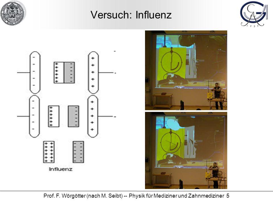 Prof. F. Wörgötter (nach M. Seibt) -- Physik für Mediziner und Zahnmediziner 5 Versuch: Influenz