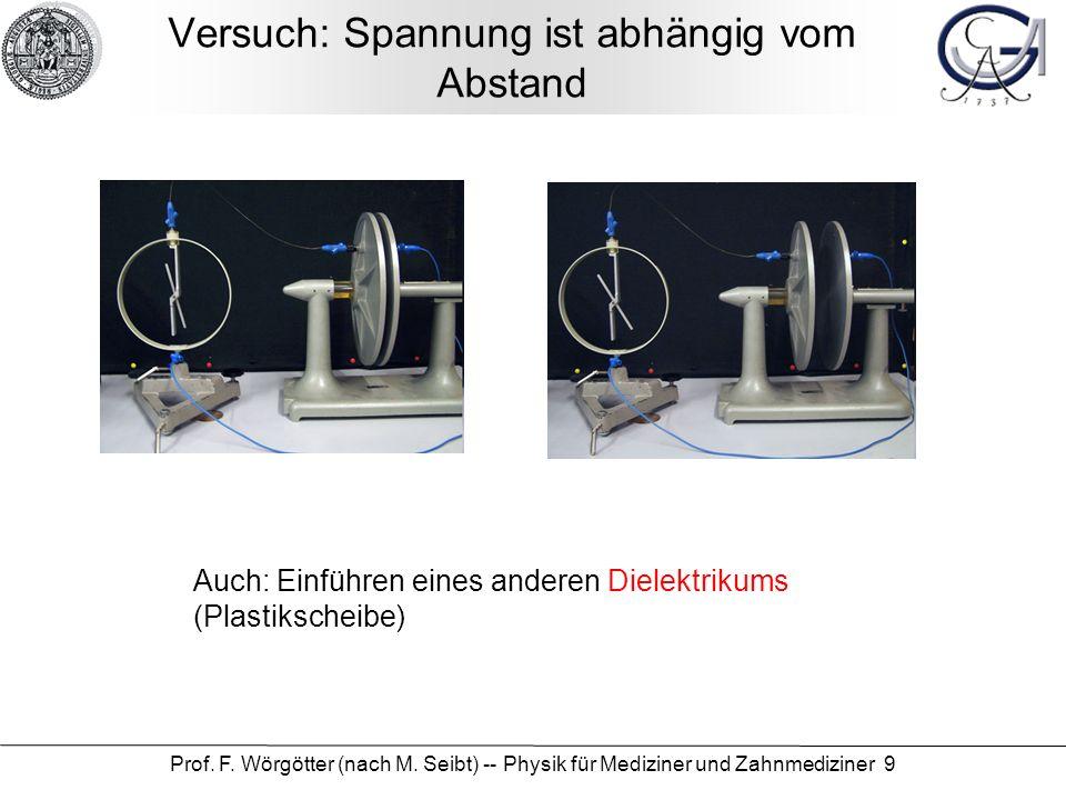 Prof. F. Wörgötter (nach M. Seibt) -- Physik für Mediziner und Zahnmediziner 9 Versuch: Spannung ist abhängig vom Abstand Auch: Einführen eines andere