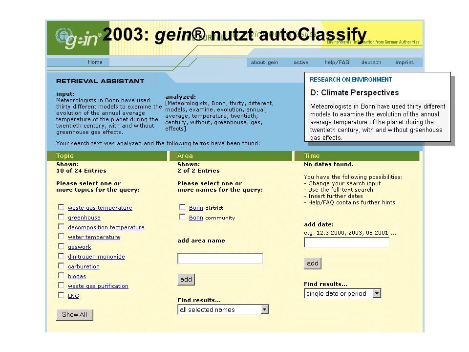 2003: gein® nutzt autoClassify