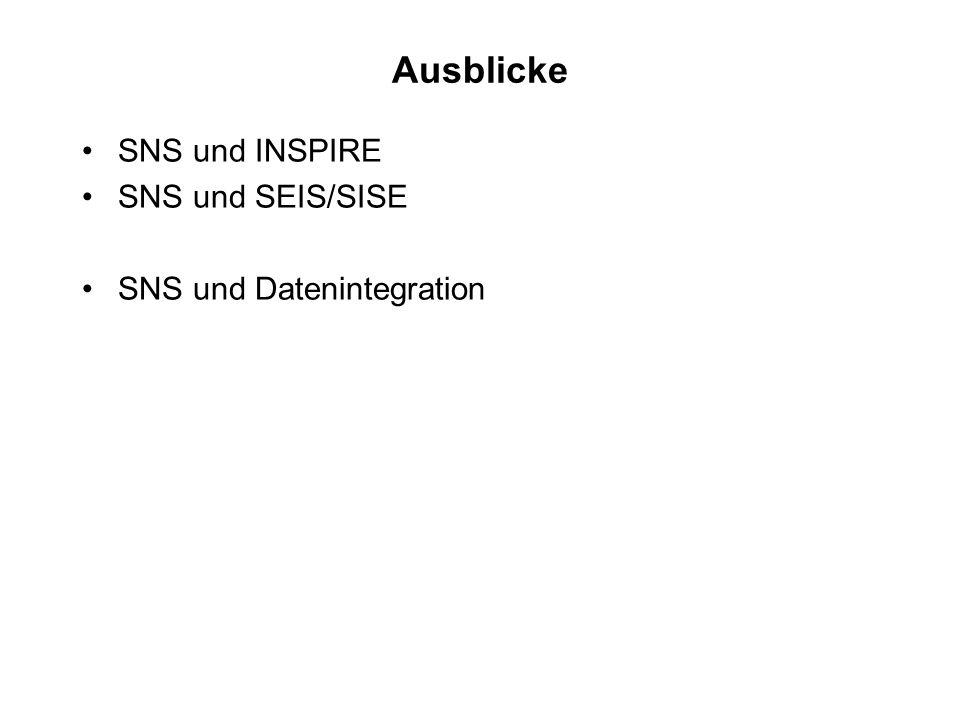 Ausblicke SNS und INSPIRE SNS und SEIS/SISE SNS und Datenintegration