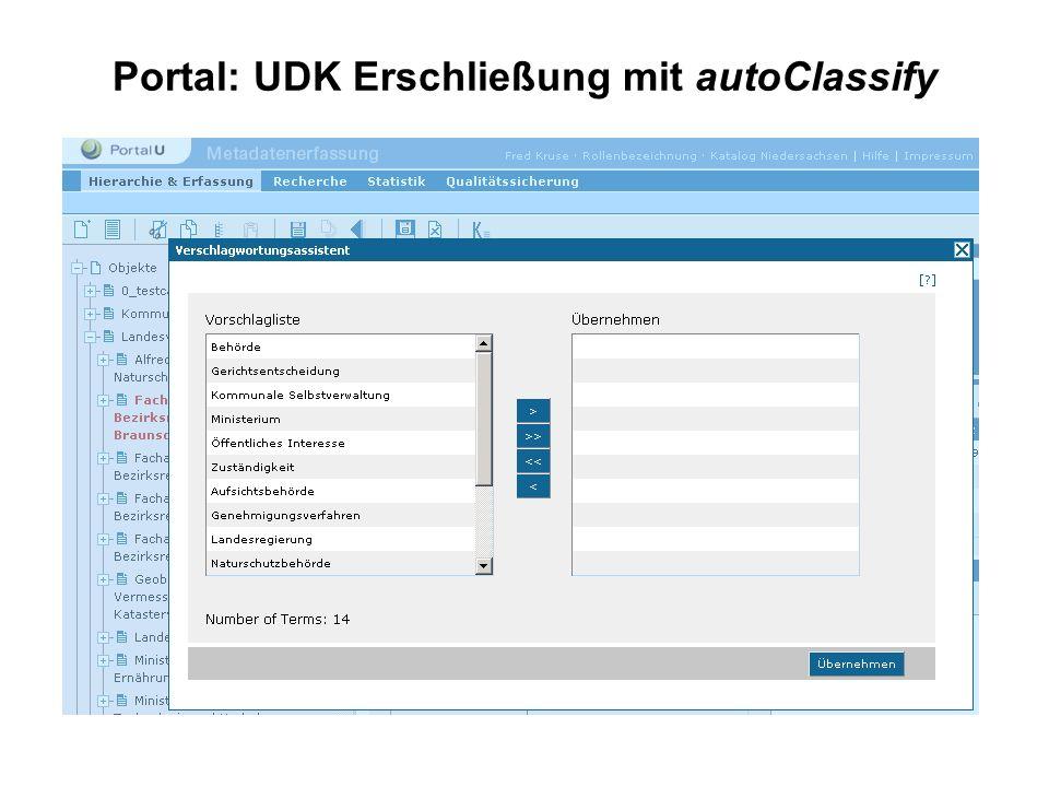 Portal: UDK Erschließung mit autoClassify
