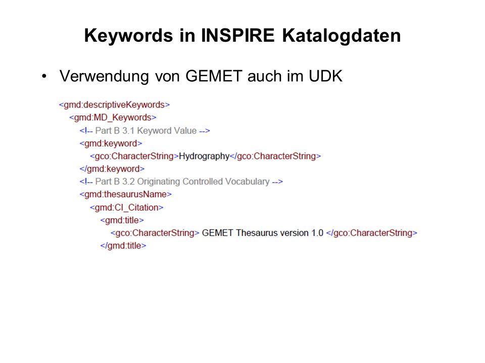 Keywords in INSPIRE Katalogdaten Verwendung von GEMET auch im UDK