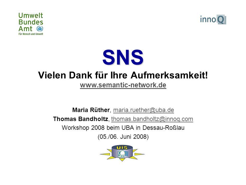 SNS SNS Vielen Dank für Ihre Aufmerksamkeit! www.semantic-network.de www.semantic-network.de Maria Rüther, maria.ruether@uba.demaria.ruether@uba.de Th