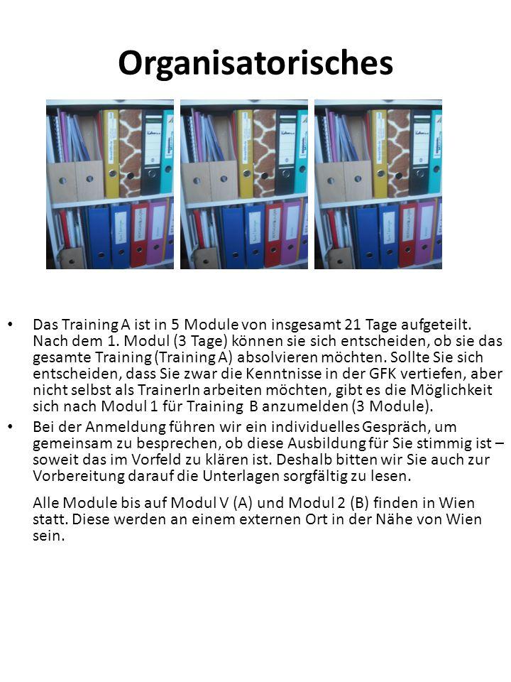 Organisatorisches Das Training A ist in 5 Module von insgesamt 21 Tage aufgeteilt. Nach dem 1. Modul (3 Tage) können sie sich entscheiden, ob sie das