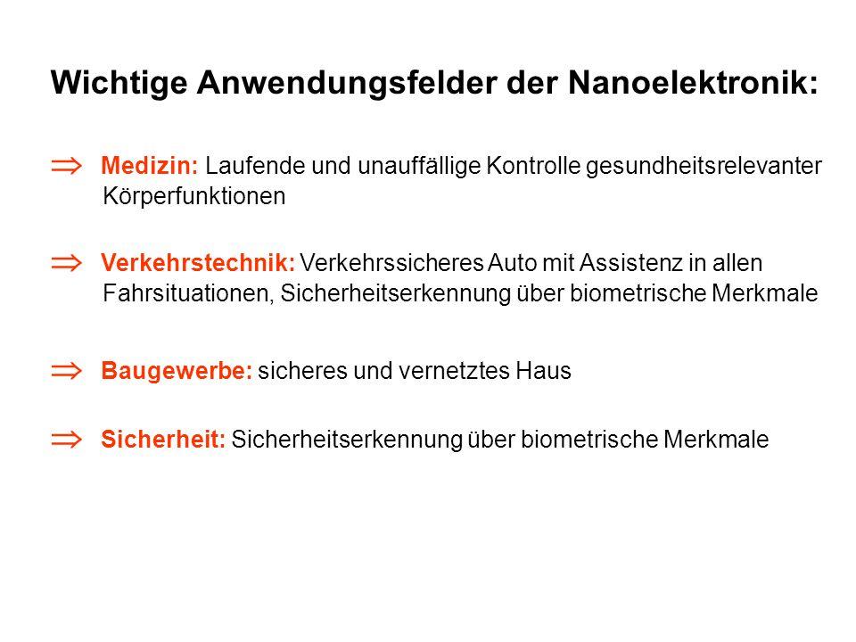 Wichtige Anwendungsfelder der Nanoelektronik: Medizin: Laufende und unauffällige Kontrolle gesundheitsrelevanter Körperfunktionen Verkehrstechnik: Ver