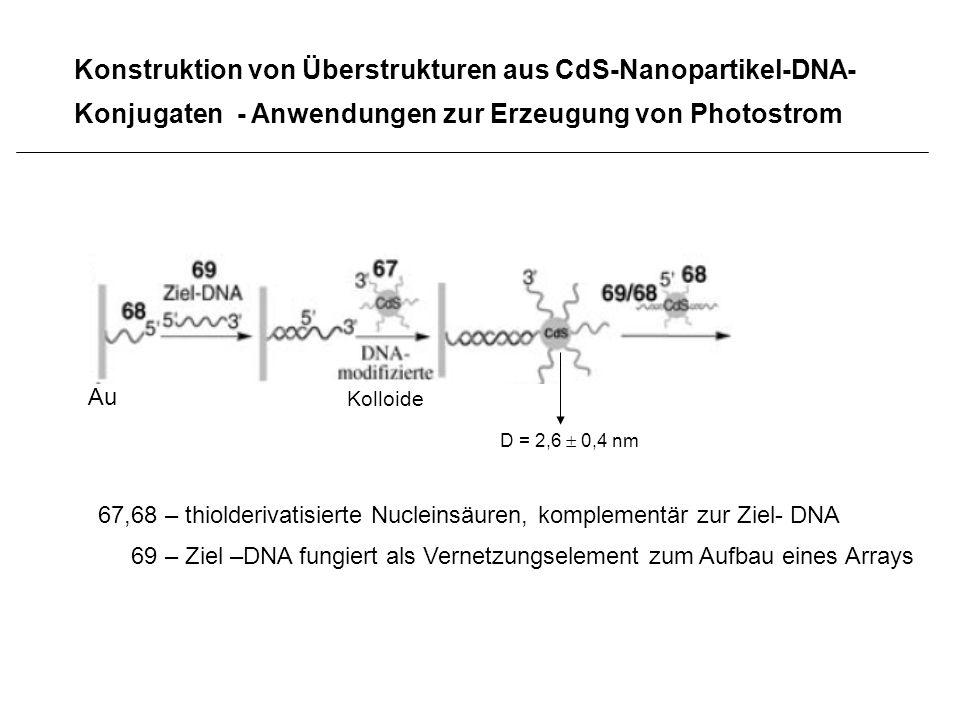 Konstruktion von Überstrukturen aus CdS-Nanopartikel-DNA- Konjugaten - Anwendungen zur Erzeugung von Photostrom Au Kolloide 67,68 – thiolderivatisiert