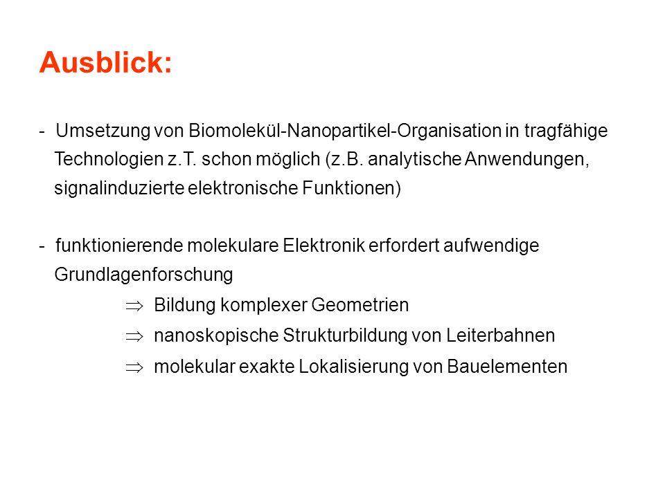 Ausblick: - Umsetzung von Biomolekül-Nanopartikel-Organisation in tragfähige Technologien z.T. schon möglich (z.B. analytische Anwendungen, signalindu